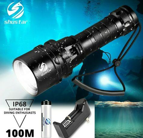 Lanterna Mergulho Luz branca 1000 lúmens aguenta até 100m profundidade