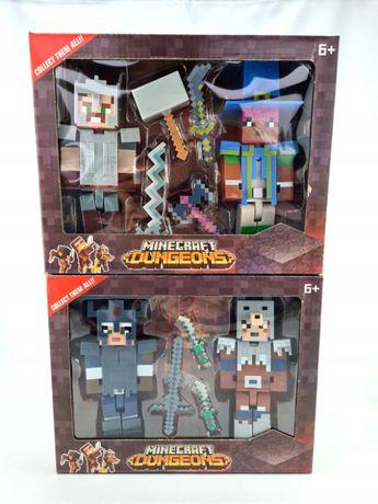 zestaw figurek minecraft 4 szt z brońmi