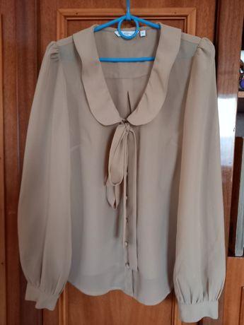 Шовкова блуза з довгим рукавом