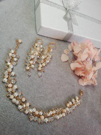 Bransoletka kolczyki złote ecru komplet biżuterii ślubnej ślubna nowa