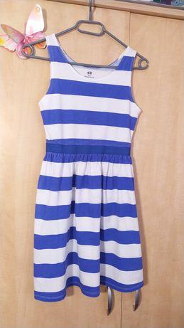 Dziewczęca letnia sukienka w paski 146/152cm H&M biało-niebieska