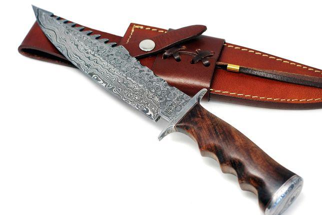 Nóż Myśliwski BOWIE Stal DAMASCEŃSKA Drewno BURL DAMAST skórzane etui