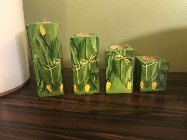 Świeczniki drewniane 4sztuki