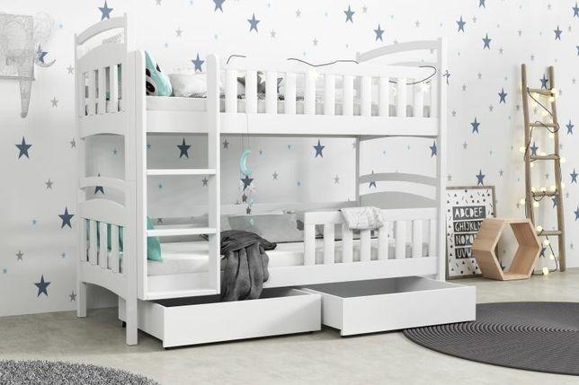 Łóżko dwu osobowe piętrowe, materace + szuflady w zestawie