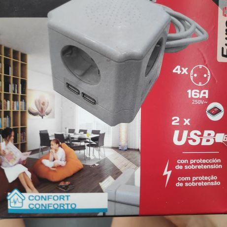 Bloco de 4 tomadas + 2 USB