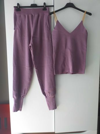 komplet fioletowy bluza spodnie bluzka top dres