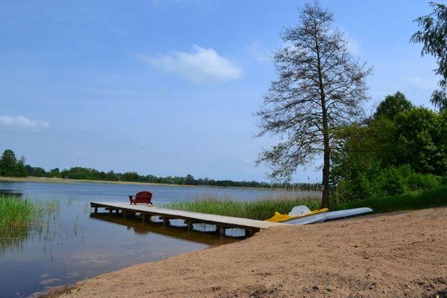 Domek letniskowy wynajem prywatna plaża jezioro Mazury Orzechowo Ełk