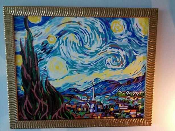 Quadro pintado à mão de The Starry Night de Van Gogh 40x50cm