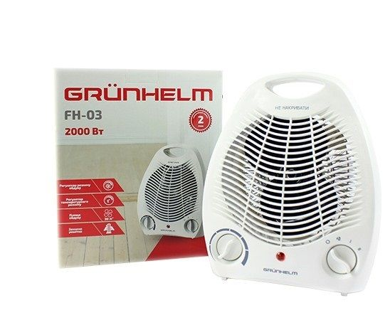 Тепловентилятор, обогреватель(20м.кв.) Grunhelm FH-03 белый
