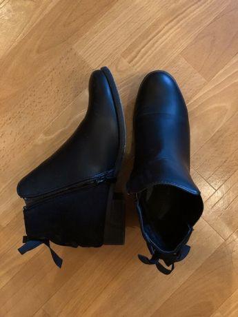 Buty botki do kostki czarne wiosna jesień