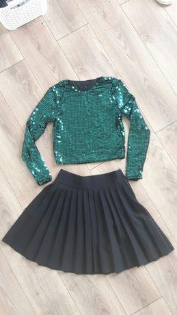 Spódnica czarna plisowana krótka bluzka cekiny h&m butelkowa zieleń
