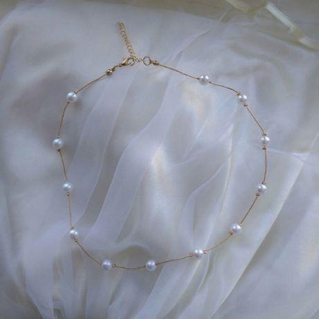 Прикраса на шию кольє цепочка, ожерелье перли жемчуг подарунок подарок