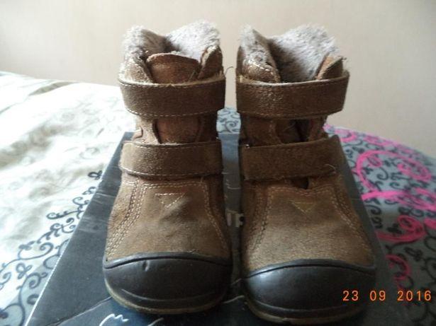Buty chłopięce rozmiar 25 zimowe ciepłe brązowe SKÓRA na rzepy HAKER