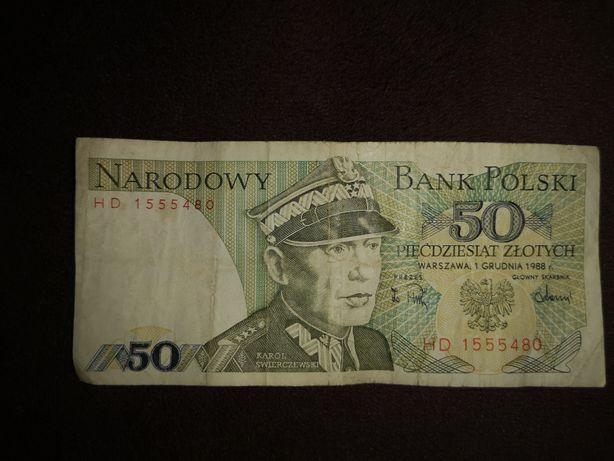 Banknot 50 zł z 1988 roku Karol Świerczewski