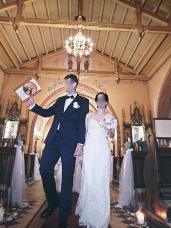 Suknia ślubna , cudownie mieniąca, rozm. 34-38