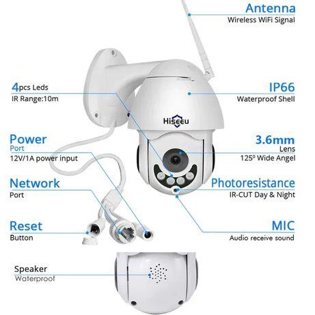 Hiseeu kamera zewnętrzna, 1080P, bezprzewodowa, PTZ, kopułkowa