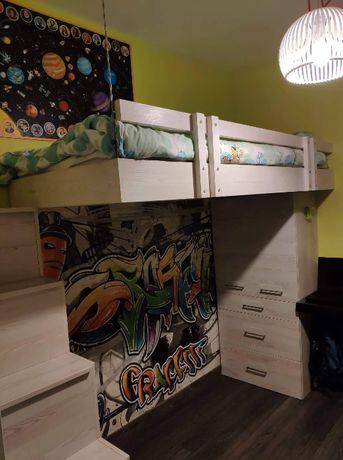 Meble dziecięce, zabudowa, łóżko piętrowe, szafa, biurko, stan idealny