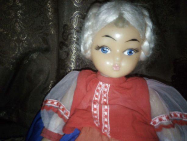 Кукла СССР самоварная с баранками, париковая.
