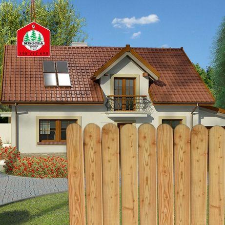 Sztachety na płot, ogrodzenie, modrzew sosna różne długości