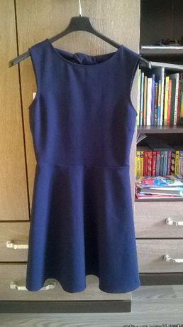 Sukienka granatowa z wiązaniami na plecach ZARA r S