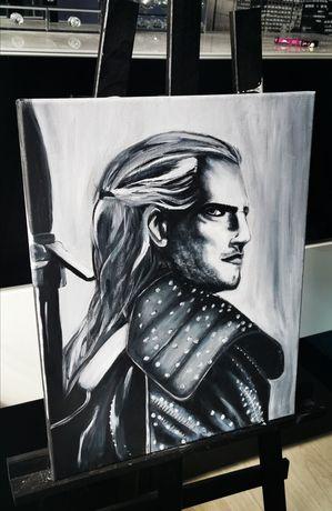 Duży Obraz Geralt WIEDŹMIN malowany akrylami Henry Cavill