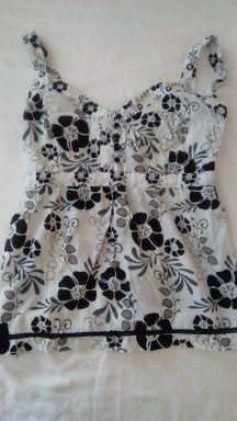 Top de alças branco e preto mulher tamanho L 5€