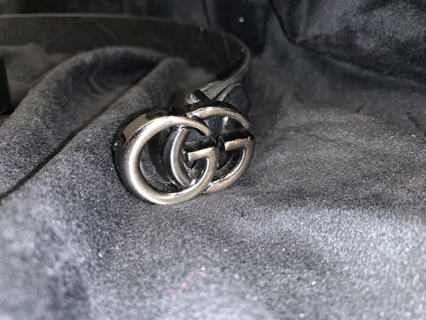 cinto GUCCI with Double G buckle preto