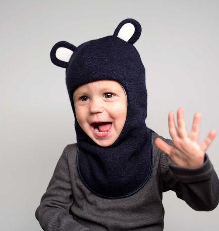 Шапка шлем Мишутка зимняя теплая модная