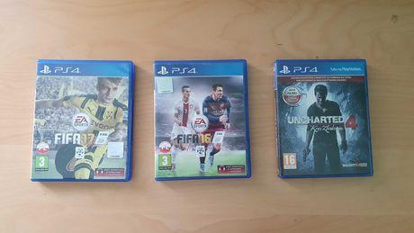 Zestaw gier Ps4 : Fifa 16, 17,  Uncharted 4: Kres złodzieja