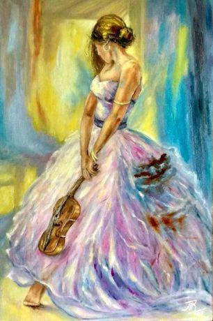 картина масло холст 40х60см Дама со скрипкой, портрет девушки.