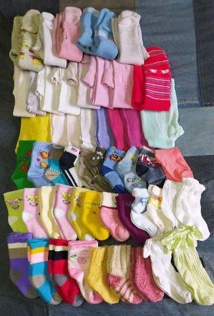 Колготки простые, стрейчевые, махровые для девочки (р. 12-14), носочки