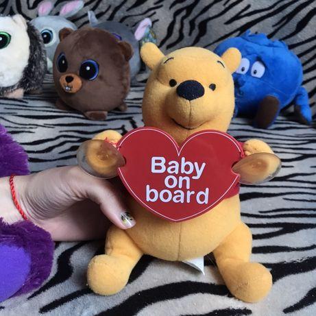 Baby on board , dziecko w samochodzie, zabawki pluszaki
