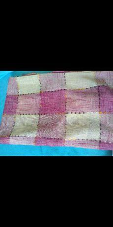 Zasłony różowo kremowe w kratę
