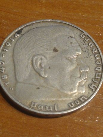 2 marki 1936 D Paul von Hildenburg Ag