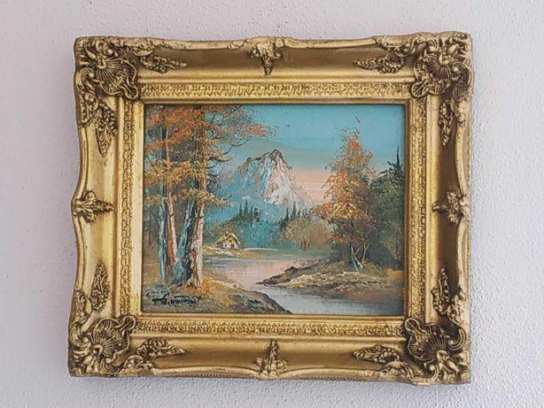 Картина.Осень в горах.Холст,масло,багет.Подпись художника.Франция