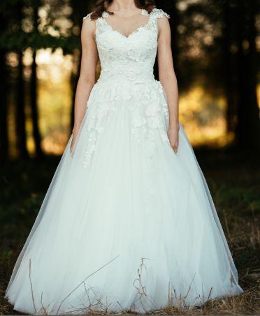 Piękna suknia ślubna Ecru rozmiar 36 jak nowa