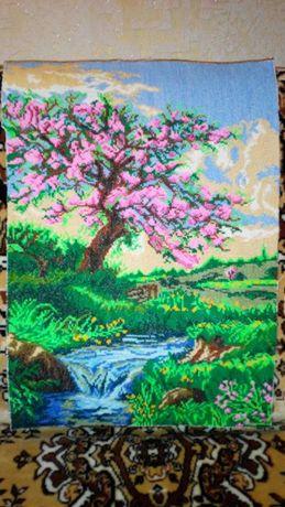 Картина крестиком сакура