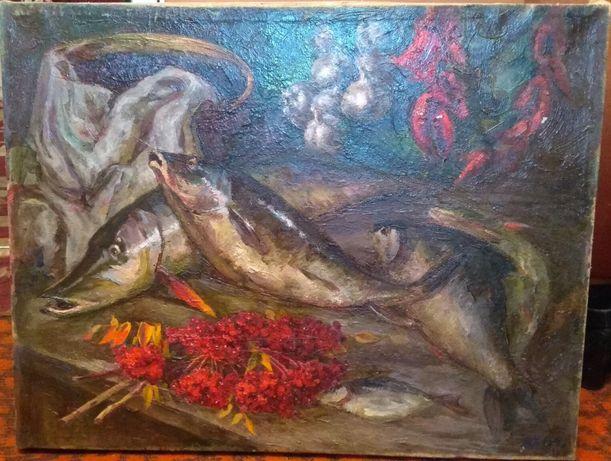 натюрморт с рыбой ( хивренко в.и. )масло