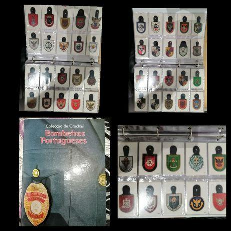 Álbum coleção completa com calendários crachás bombeiros portugues