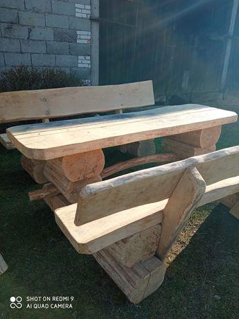 Drewniany dębowy zestaw wypoczynkowy