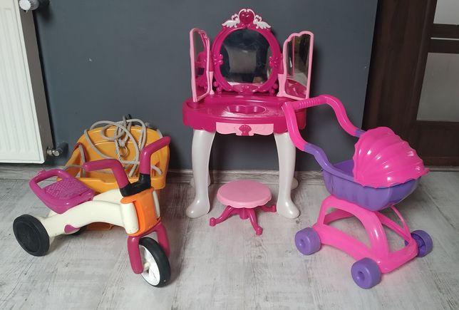 Zestaw zabawek Rowerek Toaletka Wozek Huśtawka Lalki Piesek interaktyw