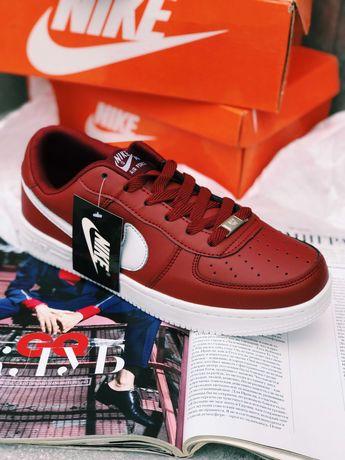 Кроссовки белые Nike Air Force 1 бордо розовые красные белые