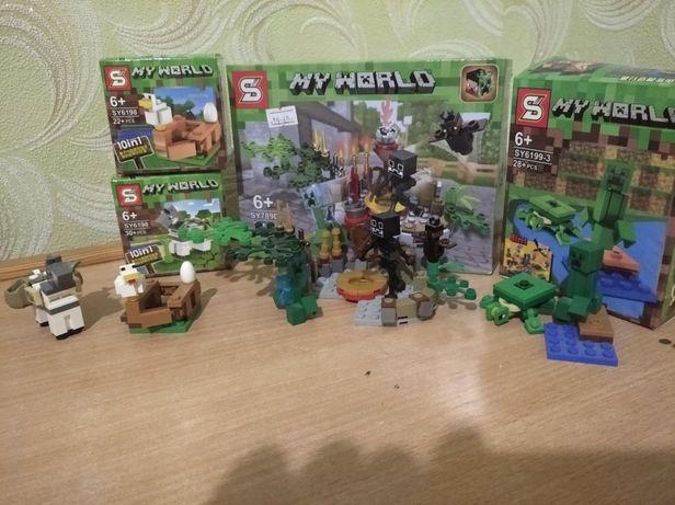 Лего Майнкрафт наборы, 2мкрипера,курочка,черепаха,скилет,лошадь, мишь.