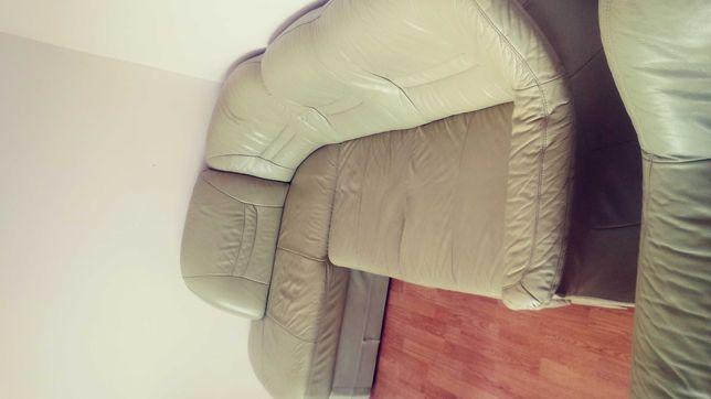 Kanapa rogowa + fotel skóra