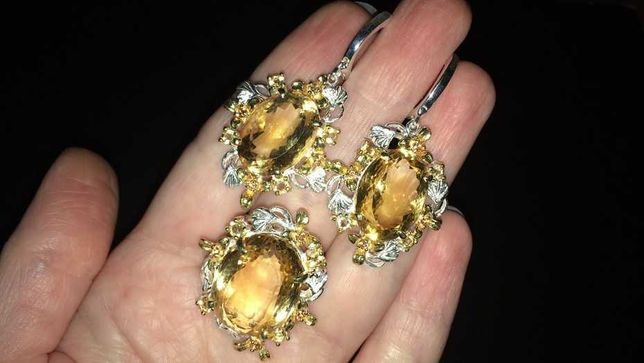 Серебряный гарнитур (серьги+кольцо) с крупным цитрином