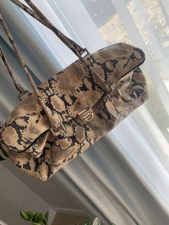 Batycki wężowa skóra bursztyn torebka