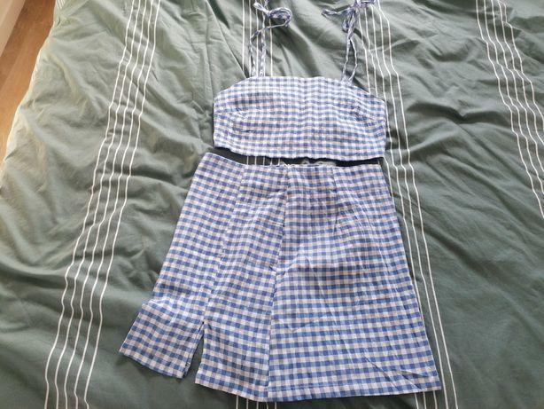 Conjunto saia e top quadrados azuis e brancos, Shein L