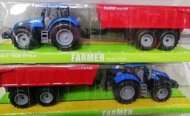 Синий трактор с прицепом, инерционный