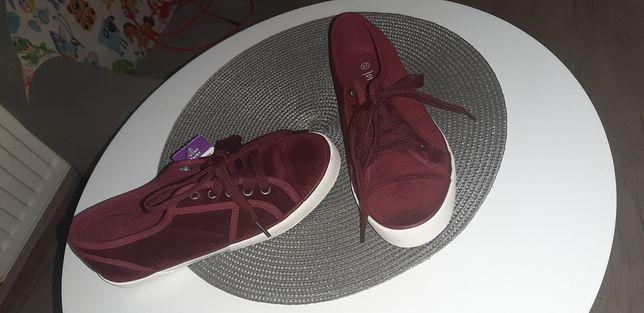 Nowe bordowe buty trampki tenisowki rozmiar 37