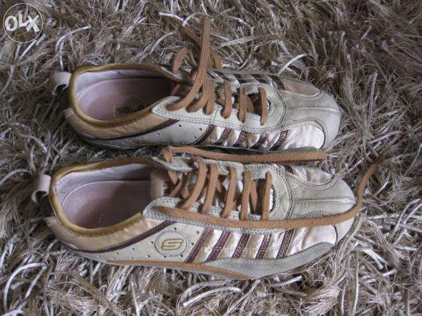 Tennis Skechers tecido verde e castanho (usados) - Descida de preço